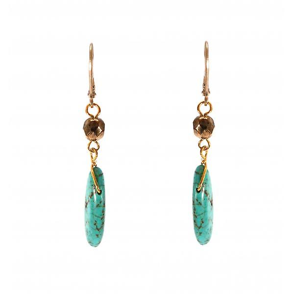 W.A.T Gold Style Reconstuited Turquoise Drop Fashion Earrings