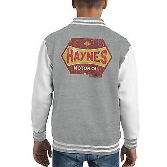 Varsity Jacket Haynes vello d'oro olio motore capretto