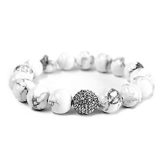 Bianco cristallo & Howlite Bracciale perle di 12mm