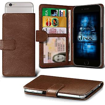 ONX3 ZTE Obsidian Leather Universal Spring Clamp Wallet Case With Card Slot Holder and Banknotes Pocket-Brown