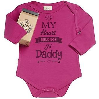 Spoilt Rotten Hearts Belongs To Daddy Organic Babygrow In Gift Milk Carton