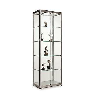 Silver Glass Display Cabinet with 1 LED Light - 600mm