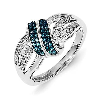 Sterling Silver Polished Prong set Open back Gift Boxed Rhodium-plated White and Blue Diamond Ring - Ring Size: 6 to 8