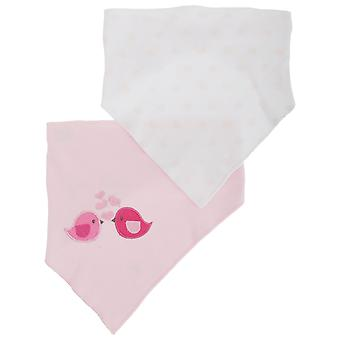 Nursery Time Baby Girls Birds/Hearts Bandana Bibs (Pack Of 2)
