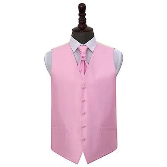 Boy's Light Pink Solid Check Wedding Waistcoat & Cravat Set