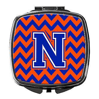 Каролинских сокровища CJ1044-NSCM буква N Шеврон оранжевый и синий компактное зеркало