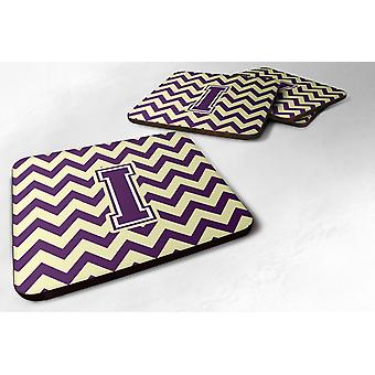 Set of 4 Letter I Chevron Purple and Gold Foam Coasters Set of 4
