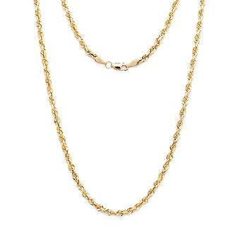 10k Yellow Gold Solid Diamond Cut Rope Chain Necklace, 4mm