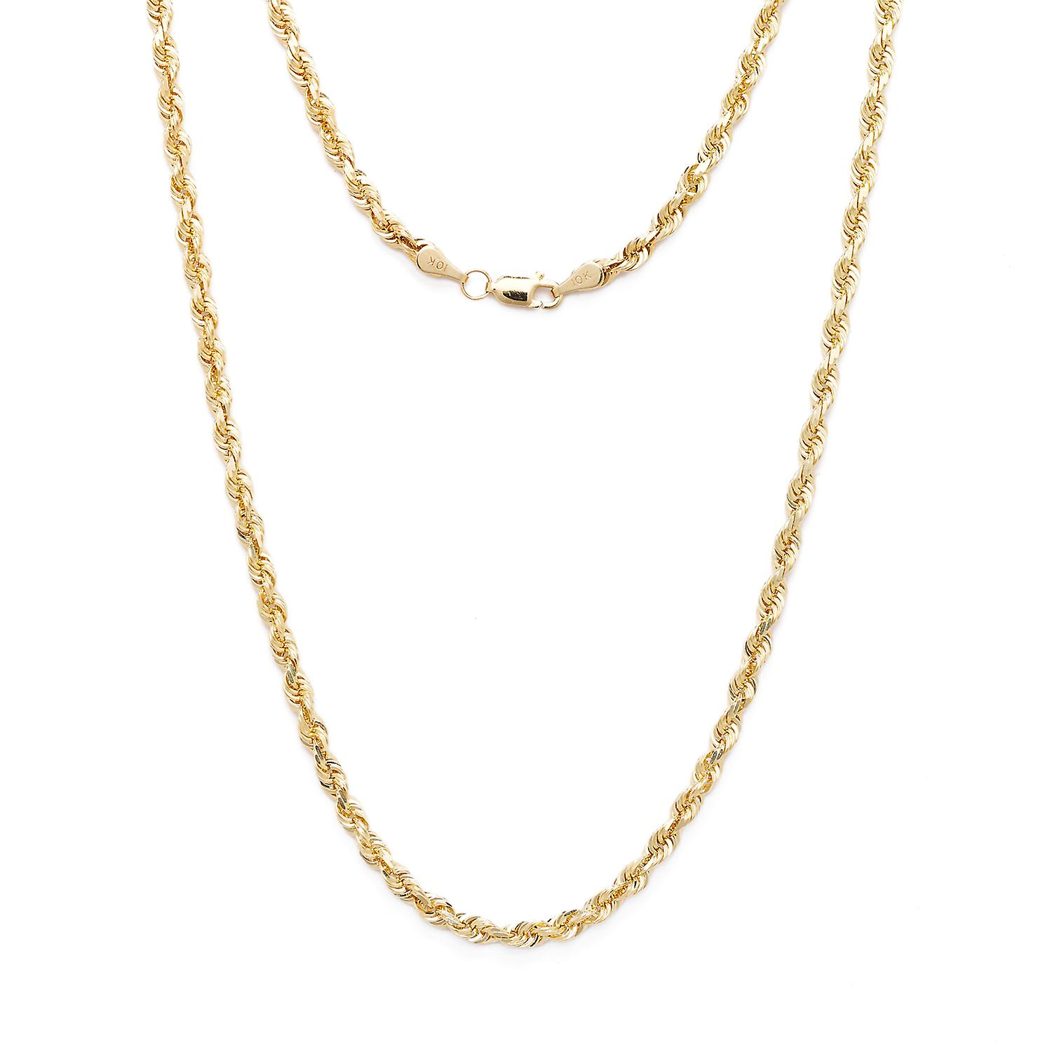 10k, diahommet solide or jaune coupe corde collier, 3mm