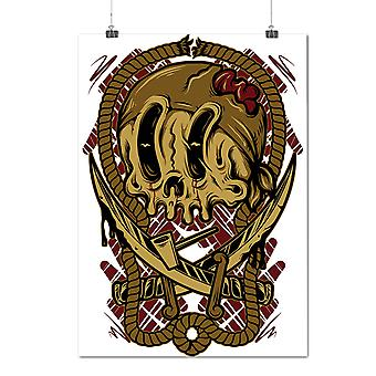 Matte or Glossy Poster with Pirate Dead Face Skull | Wellcoda | *d2070