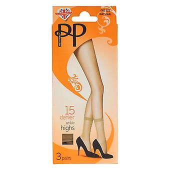 Damas Pretty Polly Ankle medias alta PNGEK6 - Nylon negro apenas - Reino Unido tamaño 3-8