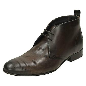 Mens Base London Ankle Boots Trader - Washed Perf Brown - UK Size 8 - EU Size 42 - US Size 9