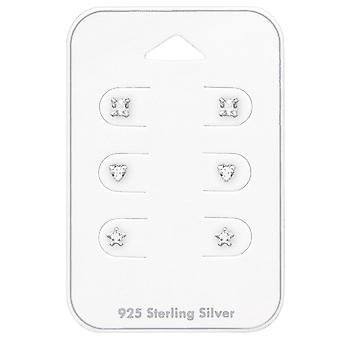 3mm Square, Heart And Star - 925 Sterling Silver Sets - W35243x