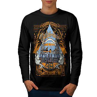 Seaside Beach California Men BlackLong Sleeve T-shirt   Wellcoda