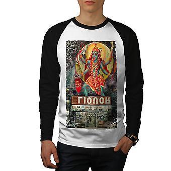 Hinduguden Killer menn hvit (svart ermene) Baseball LS t-skjorte   Wellcoda