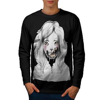 Ragazza viso uomini scheletro BlackLong Sleeve t-shirt | Wellcoda