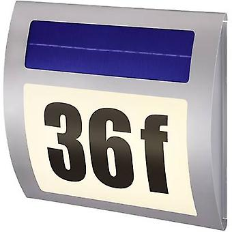 Solar-powered illuminated house numbers Warm white Renkforce HN 058 HN 058 Stainless steel
