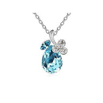Womens Sky Blue Diamante Crystal Silver Tone Flower Petal Teardrop Pendant Necklace