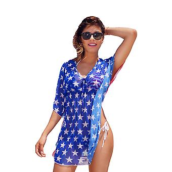 USA Flagge Short Sleeve Cover-up Strand Kleid Stars And Stripes Bademode