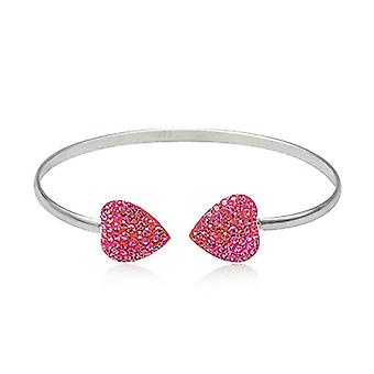 Bracelet Bangle in Silver 925 and C? urs in pink Crystal