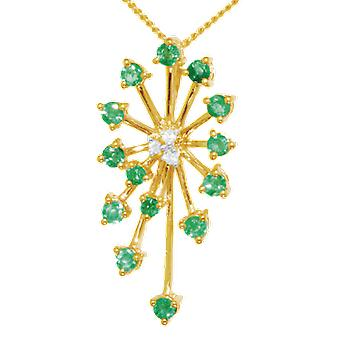 Shipton and Co Ladies Shipton And Co Exclusive 9ct Yellow Gold Starburst Emerald And Diamond Pendant Including A 16