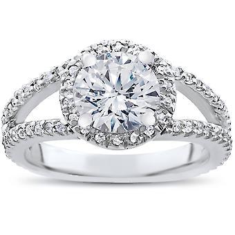 2 karat forbedret Diamond Halo forlovelsesring Split Shank 14K hvitt gull