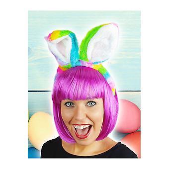 Accesorios para el cabello orejas de conejo de arco iris