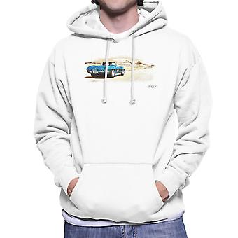Chevrolet Corvette Stingray Convertible Desert Art White Men's Hooded Sweatshirt