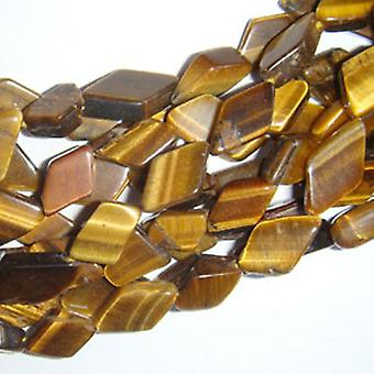 28+ Yellow/Brown Tiger Eye Approx 7 x 9mm-7 x 12mm Diamond Handcut Beads DW1430
