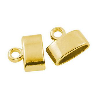 Packet 20 x Antique Gold Plated Metal Alloy Oval End Caps 10 x 11.5mm HA03290