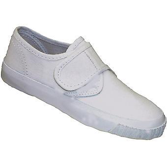 Scarpa Sneaker in Mirak ragazze tessuto Plimsoll Boxed White (Sml)