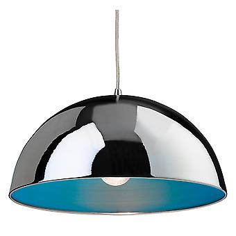 Firstlight Bistro Pendant With Chrome Finish And Blue Inside Shade