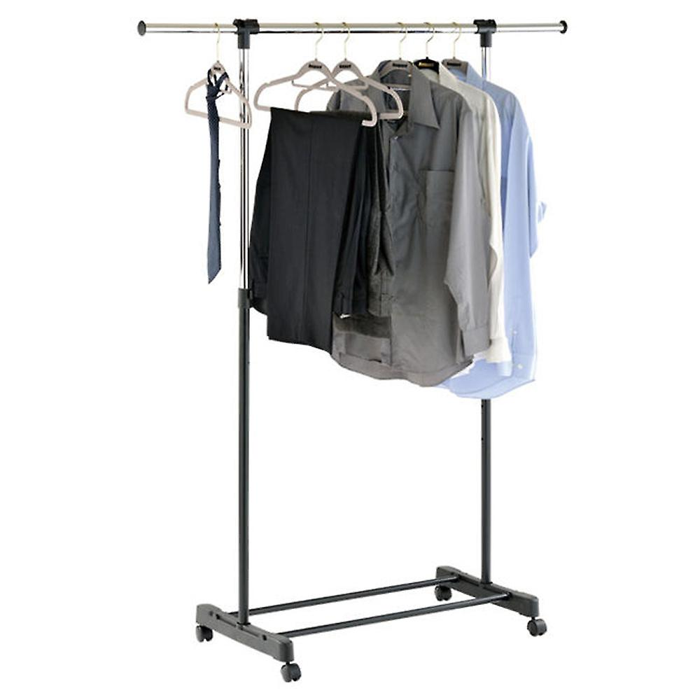 Stretch - Extendable Instant Wardrobe / Clothes Hanging Rail- Silver / Black