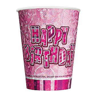 Sfarzo di compleanno rosa - felice compleanno Prisma rosa tazze