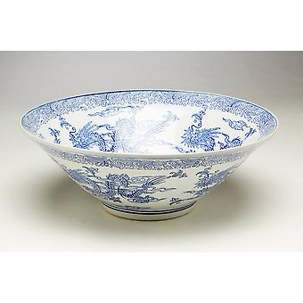 AA Importing 59818 16 Inch Blue & White Bowl