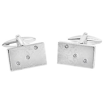 David Van Hagen Shiny Rectangle Laser Print Floral Design Crystal Cufflinks - Silver/Clear