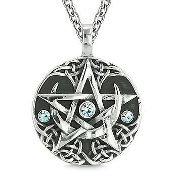 Amulet Pentacle Magic Super Star Celtic Flames Defense Blue Crystals Pentagram Pendant Necklace