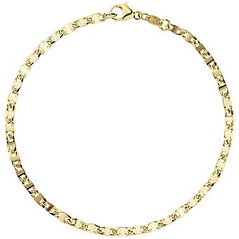 goldenes Damenarmband Armband 585 Gold Gelbgold 19 cm Goldarmband Karabiner
