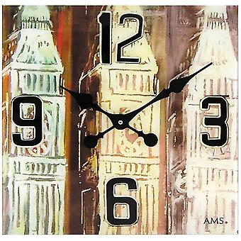AMS 9489 wall clock quartz analog square vintage antique retro