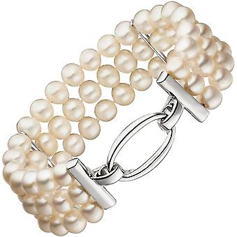 3-row with freshwater pearls and 925 silver bracelet 20 cm pearl bracelet