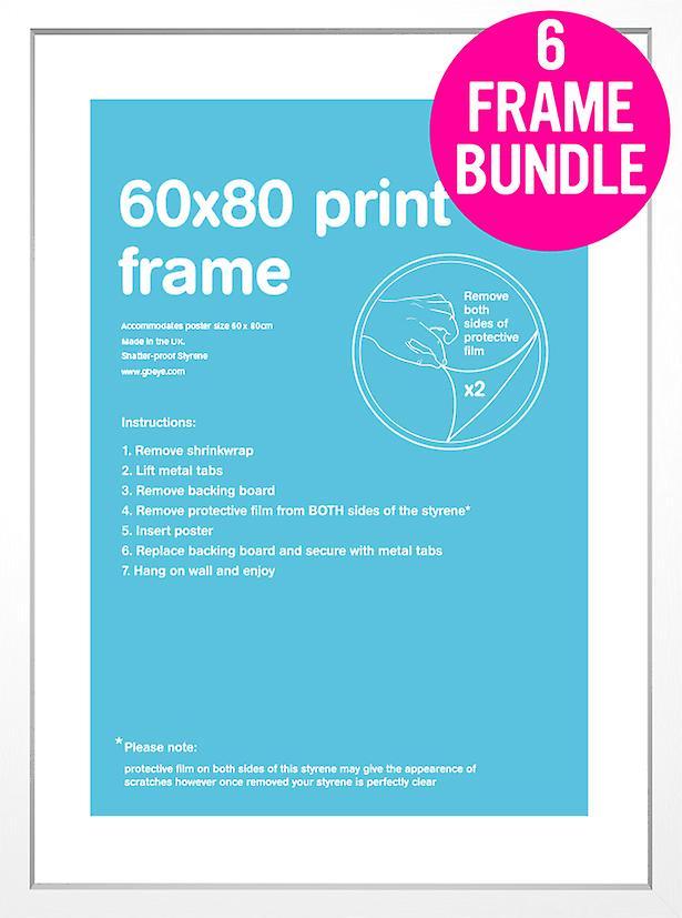GB affiches 6 MDF blanc affiche cadres 60 x 80cm Bundle