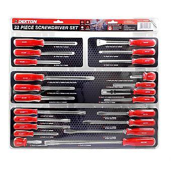 Dekton 22pc Screwdriver Set DIY Professional Magnetic Tips Flat Phillips Torx Stubby