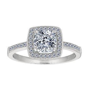 Sterling Silver coxim centro e anel de noivado de zircônia cúbica