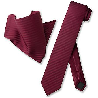 Vesuvio Napoli Skinny Necktie Striped Vertical Stripes Mens Neck Tie & Handkerchief