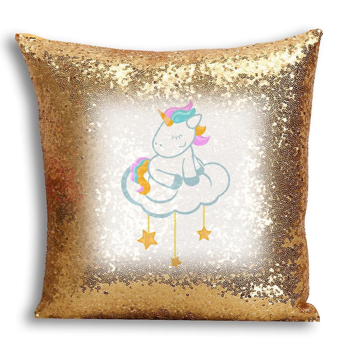 Printed Decor Gold Design CushionPillow tronixsUnicorn Sequin Home 1 I For Inserted Cover With WCoexdBr