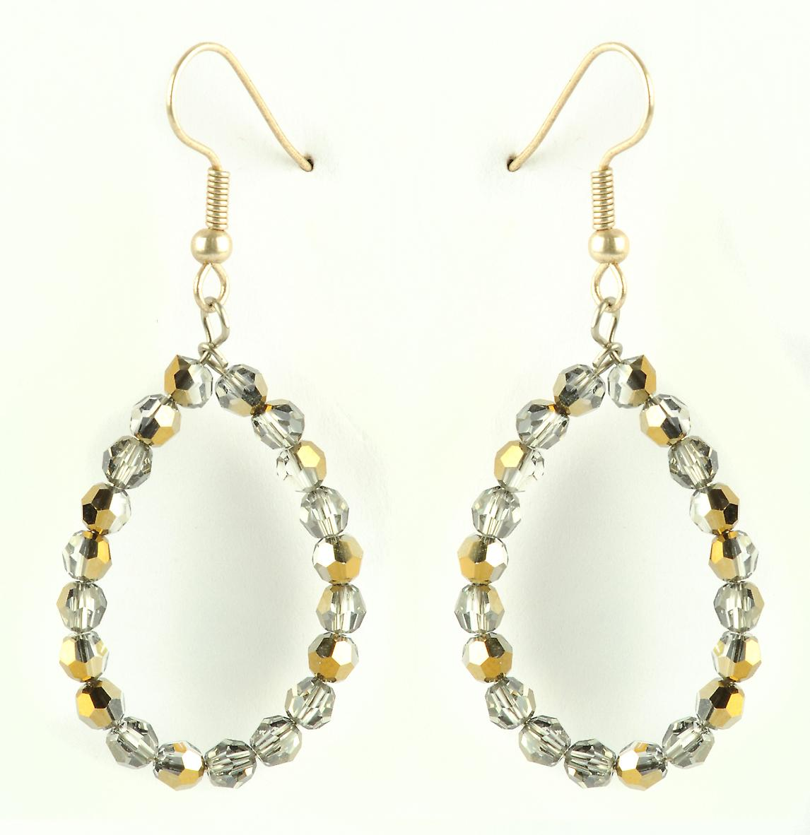 Waooh - jewelry - WJ0735 - earrings with Rhinestone Swarovski Silver Gold - mount silver