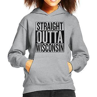 Black Text Straight Outta Wisconsin US States Kid's Hooded Sweatshirt