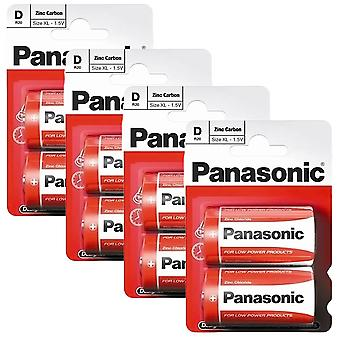 8 x Panasonic R20R-2BP D Size Batteries