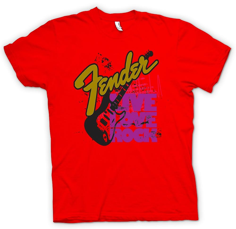 Mens T-shirt - Fender Live Love Strat Guitar