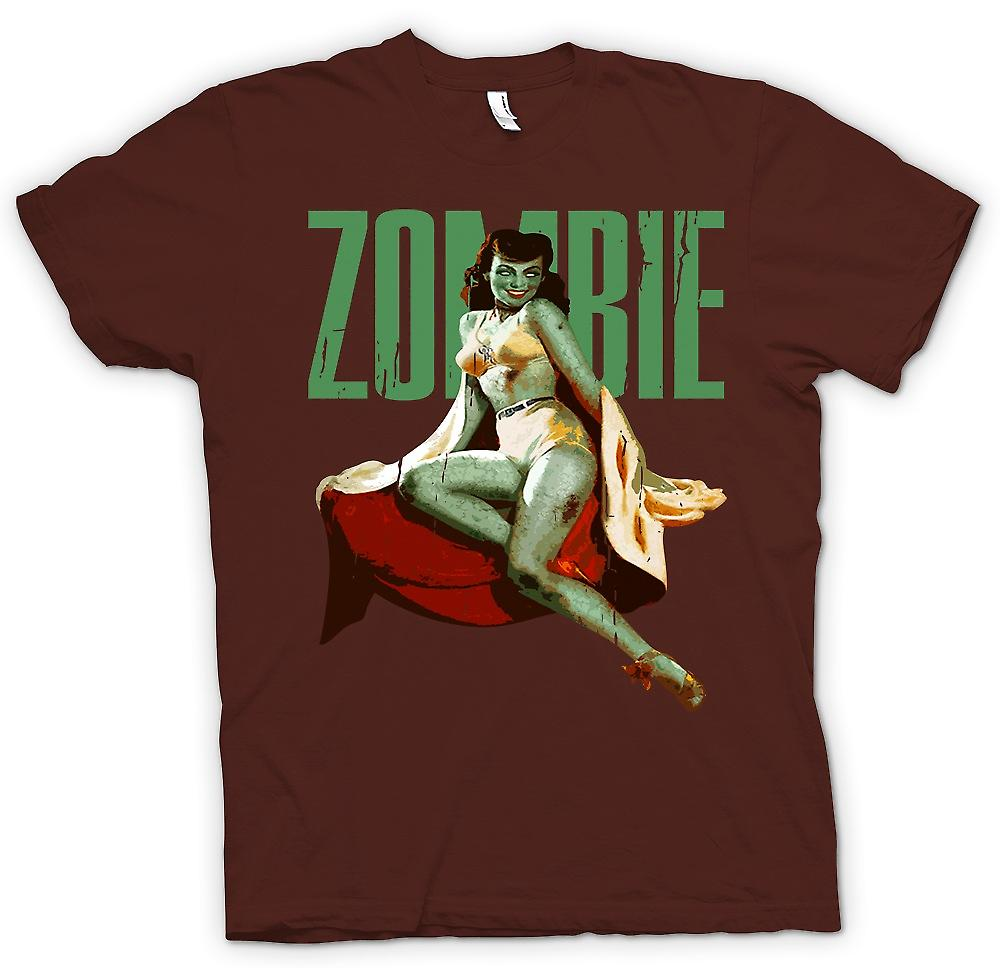 Mens T-shirt - Vintage Zombie Pin Up - Green Lady